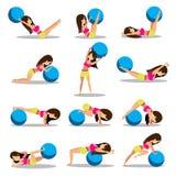 Σύνολο σχεδίου σφαιρών άσκησης workouts στοκ εικόνες