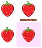 Σύνολο σχεδίου σχεδίων κινούμενων σχεδίων φρούτων φραουλών Συλλογή ελεύθερη απεικόνιση δικαιώματος