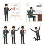 Σύνολο σχεδίου χαρακτήρα επιχειρηματιών Αφρικανικό μαύρο επιχειρησιακό άτομο στο κοστούμι που παρουσιάζει, το σημείο και την παρο Στοκ Εικόνα