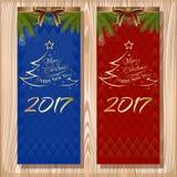 Σύνολο σχεδίου Χριστουγέννων Χαρούμενα Χριστούγεννα και καλή χρονιά 2017 Στοκ εικόνα με δικαίωμα ελεύθερης χρήσης