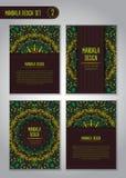 Σύνολο σχεδίου mandala φύσης διακοσμητικός τρύγος στ&o Στοκ Εικόνες