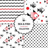 Σύνολο σχεδίων θάλασσας και ψαριών Στοκ Εικόνες