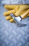 Σύνολο σχεδίων κατασκευής γαντιών ασφάλειας δέρματος σφυριών νυχιών για το γ Στοκ Φωτογραφίες
