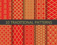 Σύνολο σχεδίων παραδοσιακού κινέζικου, διάνυσμα Στοκ Εικόνα