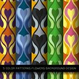 Σύνολο 5 σχεδίων χρωμάτων με τα λουλούδια και περίληψης διακοσμητικής Στοκ Φωτογραφίες