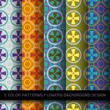 Σύνολο 5 σχεδίων χρωμάτων με τα λουλούδια και την περίληψη Στοκ φωτογραφία με δικαίωμα ελεύθερης χρήσης