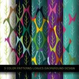 Σύνολο 5 σχεδίων χρωμάτων με τα φύλλα και περίληψης διακοσμητικής Στοκ Εικόνες