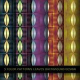Σύνολο 5 σχεδίων χρωμάτων με τα φύλλα και την περίληψη Στοκ Εικόνες