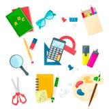 Σύνολο σχολικών προμηθειών Διανυσματικό εικονίδιο στην άσπρη ανασκόπηση Ύφος κινούμενων σχεδίων Στοκ εικόνα με δικαίωμα ελεύθερης χρήσης