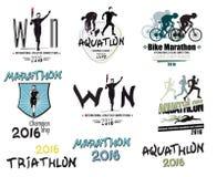 Σύνολο σύγχρονου αθλητισμού: triathlon, μαραθώνιος, aquatlon, λογότυπα ανακύκλωσης, εικονίδια Στοκ εικόνες με δικαίωμα ελεύθερης χρήσης