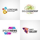 Σύνολο σύγχρονου ζωηρόχρωμου αφηρημένου διαγωνισμού Ιστού ειδήσεων Στοκ Εικόνες