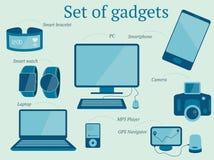 Σύνολο σύγχρονου σχεδίου συσκευών συμπεριλαμβανομένου του lap-top, PC, mp3 φορέας ελεύθερη απεικόνιση δικαιώματος