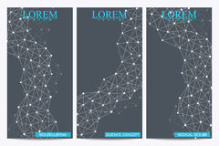 Σύνολο σύγχρονων διανυσματικών ιπτάμενων Αφηρημένο υπόβαθρο με το DNA δομών μορίων και τους νευρώνες Ιατρική, επιστήμη, τεχνολογί Στοκ φωτογραφίες με δικαίωμα ελεύθερης χρήσης