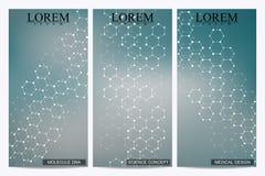 Σύνολο σύγχρονων διανυσματικών ιπτάμενων Αφηρημένο υπόβαθρο με το DNA δομών μορίων και τους νευρώνες Ιατρική, επιστήμη, τεχνολογί Στοκ εικόνες με δικαίωμα ελεύθερης χρήσης