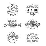 Σύνολο τέχνης γραμμών διακριτικών ή ετικετών καταστημάτων της Pet διάνυσμα ελεύθερη απεικόνιση δικαιώματος