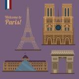 Σύνολο ταξιδιού του Παρισιού Διάσημες θέσεις - πύργος του Άιφελ, Λούβρο απεικόνιση αποθεμάτων