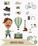 Σύνολο ταξιδιού Hipster απεικόνιση αποθεμάτων