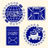 σύνολο ταχυδρομείου εικονιδίων Η έννοια της παράδοσης των επιστολών και των μετα ιδιοτήτων Στοκ Εικόνες