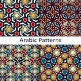 Σύνολο τεσσάρων άνευ ραφής διανυσματικών αραβικών σχεδίων Στοκ Εικόνες