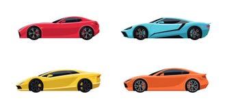 Σύνολο τεσσάρων αθλητικών έξοχων αυτοκινήτων διανυσματική απεικόνιση