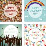 Σύνολο τεσσάρων εικόνων για την ημέρα των διεθνών παιδιών Στοκ εικόνες με δικαίωμα ελεύθερης χρήσης