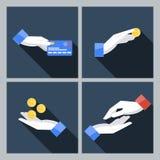 Σύνολο τεσσάρων διανυσματικών εικονιδίων με τα χέρια που κρατούν Στοκ Φωτογραφίες