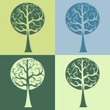 Σύνολο τεσσάρων διανυσματικών μπουκλών καμπυλών δέντρων Στοκ φωτογραφία με δικαίωμα ελεύθερης χρήσης
