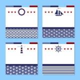 Σύνολο τεσσάρων καρτών στο θέμα θάλασσας Στοκ φωτογραφία με δικαίωμα ελεύθερης χρήσης