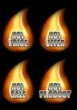 Σύνολο τεσσάρων καυτών μηνυμάτων Eshop στη φλόγα Στοκ φωτογραφίες με δικαίωμα ελεύθερης χρήσης