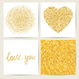 Σύνολο τεσσάρων προτύπων καρτών Χρυσή μοντέρνη διακόσμηση Στοκ φωτογραφία με δικαίωμα ελεύθερης χρήσης