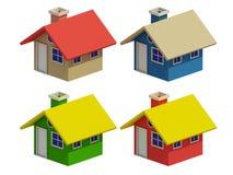 Σύνολο τεσσάρων σπιτιών με τις αλλαγές χρώματος Στοκ Εικόνες