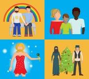 Σύνολο τεσσάρων φωτεινών διανυσματικών επίπεδων απεικονίσεων που δείχνουν ότι οι άνθρωποι πρέπει να είναι ανεκτικοί Στοκ φωτογραφία με δικαίωμα ελεύθερης χρήσης
