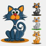 Σύνολο τεσσάρων χρωματισμένων χαριτωμένων γατακιών Στοκ Εικόνες
