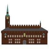 Σύνολο της Δανίας εικονιδίων ορόσημων στο επίπεδο ύφος Θέες πόλεων της Κοπεγχάγης Δανικά στοιχεία σχεδίου αρχιτεκτονικής Δημαρχεί διανυσματική απεικόνιση