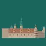 Σύνολο της Δανίας εικονιδίων ορόσημων στο επίπεδο ύφος Θέες πόλεων της Κοπεγχάγης Δανικά στοιχεία σχεδίου αρχιτεκτονικής Kronberg διανυσματική απεικόνιση