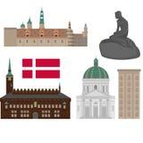 Σύνολο της Δανίας εικονιδίων ορόσημων στο επίπεδο ύφος Θέες πόλεων της Κοπεγχάγης Δανικά στοιχεία σχεδίου αρχιτεκτονικής ελεύθερη απεικόνιση δικαιώματος