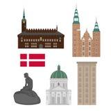 Σύνολο της Δανίας εικονιδίων ορόσημων στο επίπεδο ύφος Θέες πόλεων της Κοπεγχάγης Δανικά στοιχεία σχεδίου αρχιτεκτονικής απεικόνιση αποθεμάτων