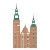 Σύνολο της Δανίας εικονιδίων ορόσημων στο επίπεδο ύφος Θέες πόλεων της Κοπεγχάγης Δανικά στοιχεία σχεδίου αρχιτεκτονικής Rosenbor ελεύθερη απεικόνιση δικαιώματος