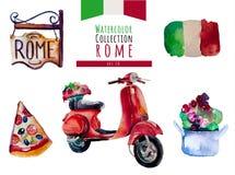 Σύνολο της Ιταλίας Ρώμη Watercolor Το διανυσματικό χέρι σύρει ελεύθερη απεικόνιση δικαιώματος