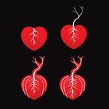 Σύνολο της καμμένος καρδιάς και του δέντρου Στοκ φωτογραφία με δικαίωμα ελεύθερης χρήσης
