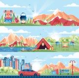 Σύνολο τοπίου ημέρας, βουνά, αυγή, ταξίδι, πεζοπορία, φύση, σκηνή, πυρά προσκόπων, δοχείο, μεγάλο σακίδιο πλάτης τουριστών, στρατ Στοκ Εικόνα