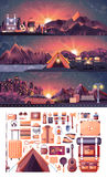 Σύνολο τοπίου νύχτας, βουνά, ηλιοβασίλεμα, ταξίδι, πεζοπορία, φύση, σκηνή, πυρά προσκόπων, δοχείο, μεγάλο σακίδιο πλάτης τουριστώ Στοκ εικόνες με δικαίωμα ελεύθερης χρήσης