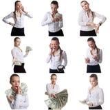 Σύνολο τοποθέτησης επιχειρησιακών γυναικών με το συναισθηματικό πρόσωπο στοκ φωτογραφία με δικαίωμα ελεύθερης χρήσης