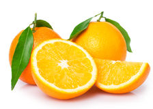 Σύνολο του φρέσκου, φωτεινού κίτρινου πορτοκαλιού Στοκ Φωτογραφίες