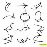 Σύνολο τραχιών βελών bursh doodle, στοιχείο σχεδίου για τις επιχειρησιακές δημόσιες σχέσεις Στοκ φωτογραφίες με δικαίωμα ελεύθερης χρήσης