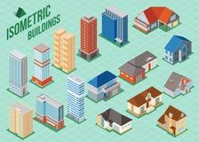 Σύνολο τρισδιάστατων isometric ιδιωτικών σπιτιών και εικονιδίων ψηλών κτιρίων για το κτήριο χαρτών κτήμα έννοιας πραγματικό διανυσματική απεικόνιση