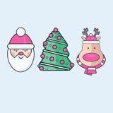 Σύνολο τριών επίπεδων εικονιδίων Χριστουγέννων Santa, δέντρο, και ελάφια Στοκ Εικόνες