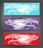 Σύνολο τριών, σύγχρονα εμβλήματα - μπλε, βιολέτα, κόκκινη Στοκ εικόνα με δικαίωμα ελεύθερης χρήσης