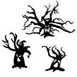 Σύνολο τρομακτικών δέντρων αποκριών επίσης corel σύρετε το διάνυσμα απεικόνισης Πρόσωπο φαντασμάτων στοκ εικόνα