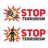 Σύνολο τρομοκρατίας στάσεων σημαδιών με το δυναμίτη και μια σκιαγραφία ενός φυσήματος αυτοκτονίας Στοκ Φωτογραφίες